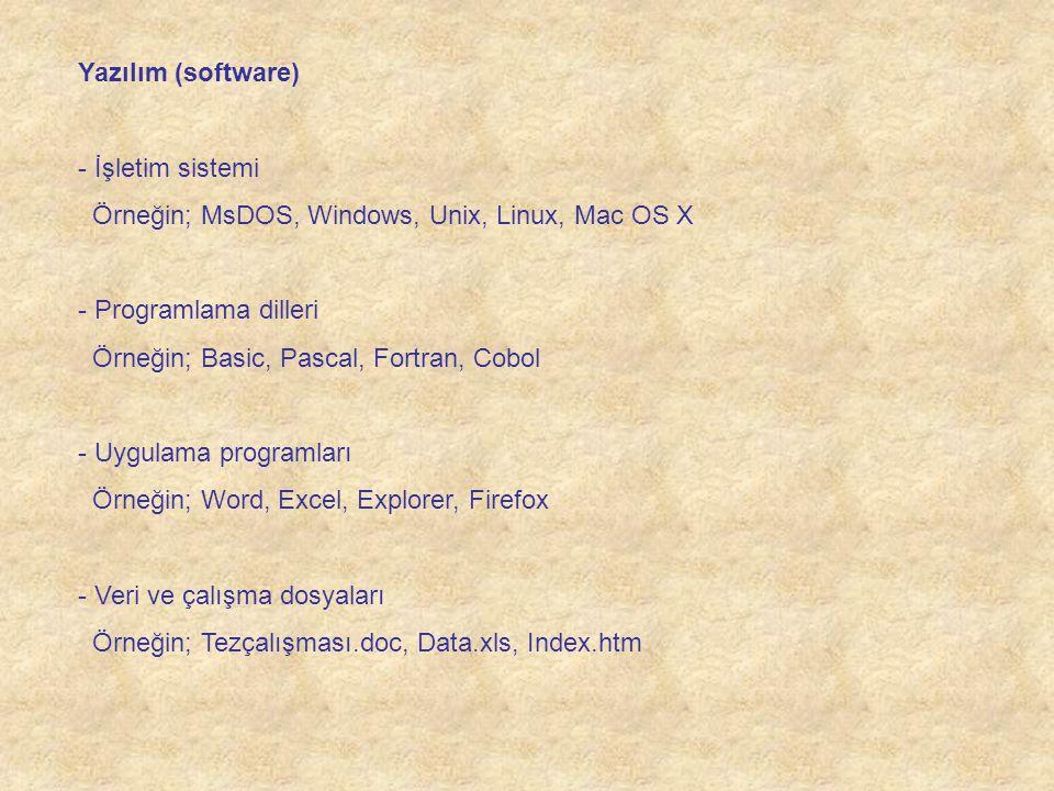 Yazılım (software) İşletim sistemi. Örneğin; MsDOS, Windows, Unix, Linux, Mac OS X. Programlama dilleri.