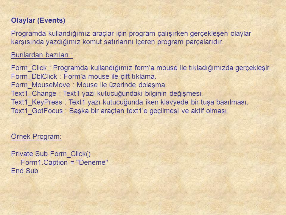 Olaylar (Events)