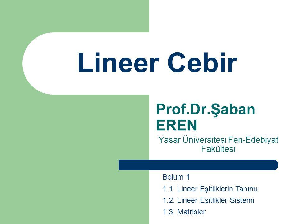Prof.Dr.Şaban EREN Yasar Üniversitesi Fen-Edebiyat Fakültesi