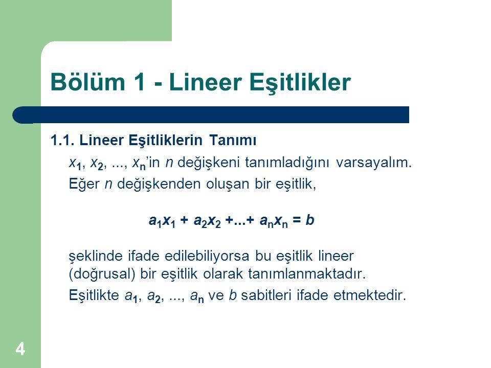 Bölüm 1 - Lineer Eşitlikler