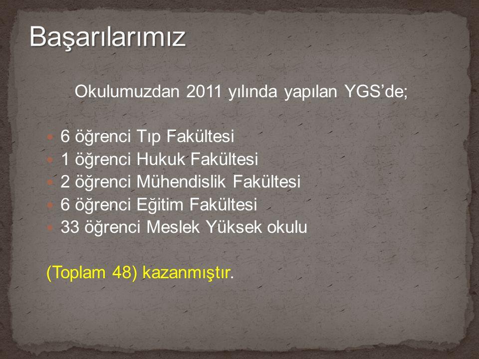 Başarılarımız Okulumuzdan 2011 yılında yapılan YGS'de;