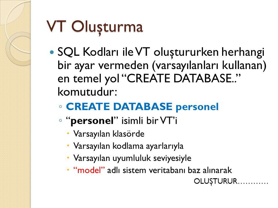 VT Oluşturma SQL Kodları ile VT oluştururken herhangi bir ayar vermeden (varsayılanları kullanan) en temel yol CREATE DATABASE.. komutudur: