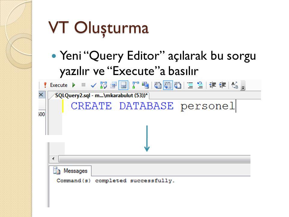 VT Oluşturma Yeni Query Editor açılarak bu sorgu yazılır ve Execute a basılır