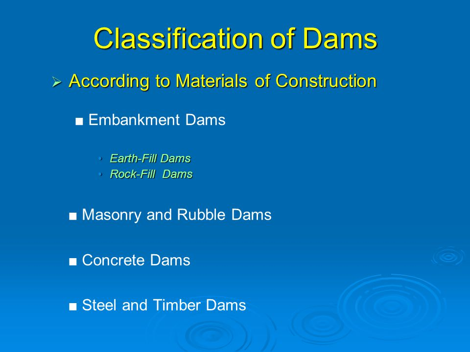 Classification of Dams