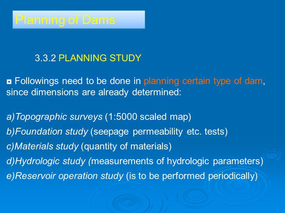 Planning of Dams 3.3.2 PLANNING STUDY