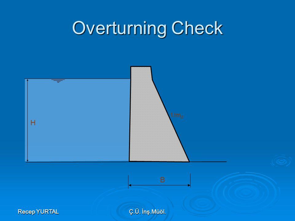 Overturning Check 1/md H B Recep YURTAL Ç.Ü. İnş.Müöl.