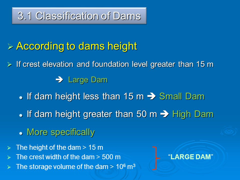 3.1 Classification of Dams
