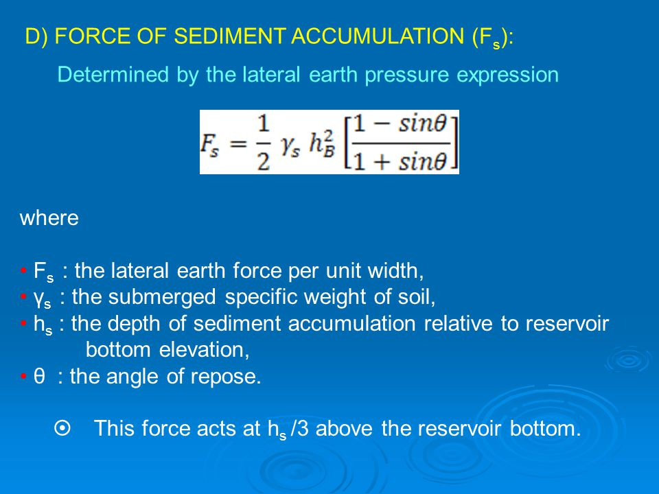 D) FORCE OF SEDIMENT ACCUMULATION (Fs):