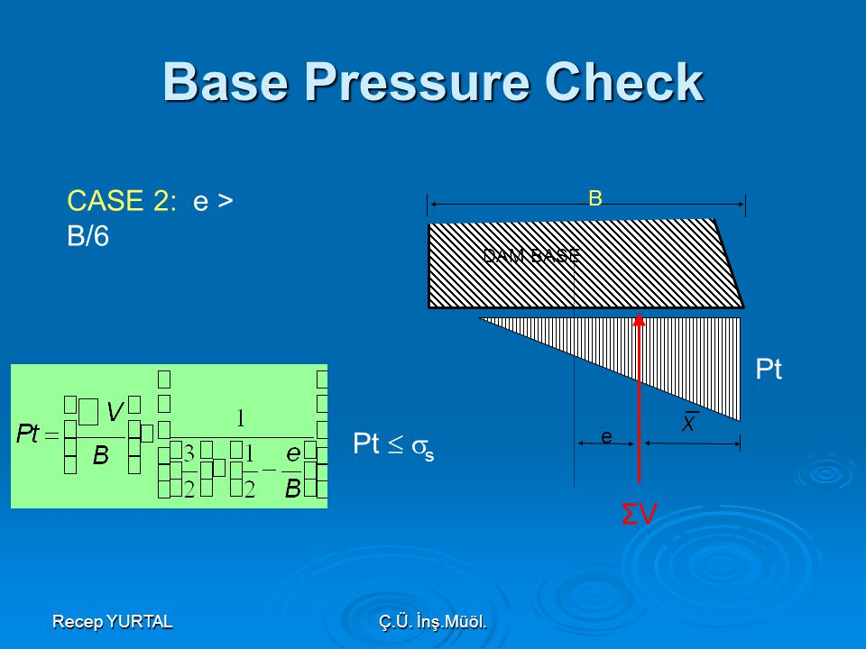 Base Pressure Check CASE 2: e > B/6 Pt Pt  s ΣV B e DAM BASE