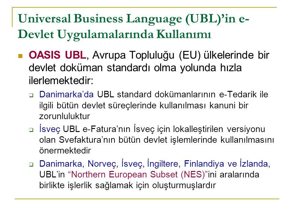Universal Business Language (UBL)'in e-Devlet Uygulamalarında Kullanımı