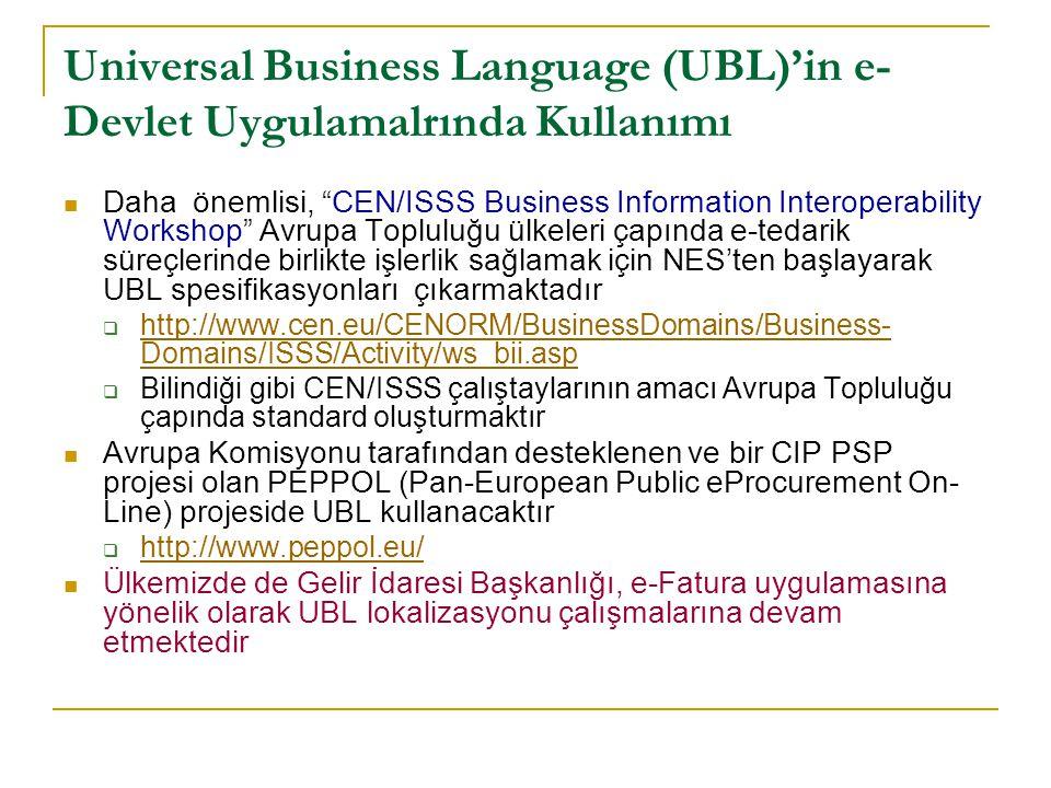Universal Business Language (UBL)'in e-Devlet Uygulamalrında Kullanımı