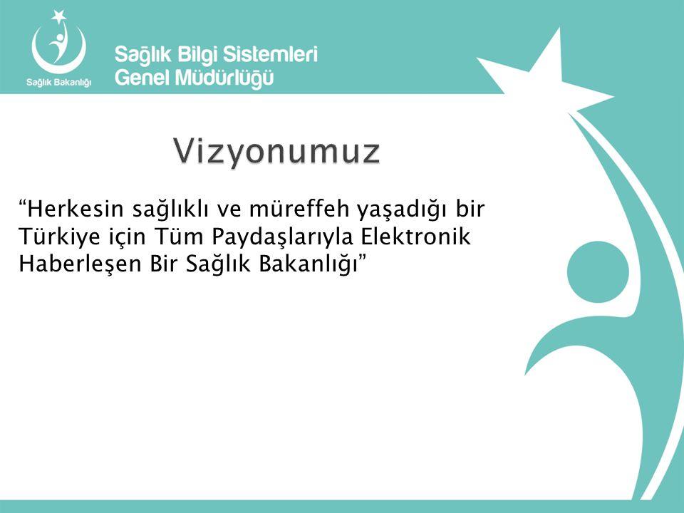 Vizyonumuz Herkesin sağlıklı ve müreffeh yaşadığı bir Türkiye için Tüm Paydaşlarıyla Elektronik Haberleşen Bir Sağlık Bakanlığı