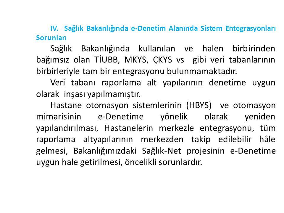 IV. Sağlık Bakanlığında e-Denetim Alanında Sistem Entegrasyonları Sorunları