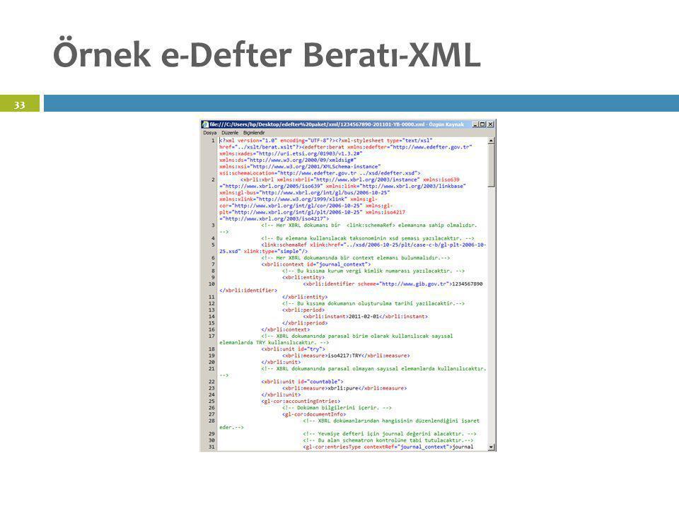 Örnek e-Defter Beratı-XML