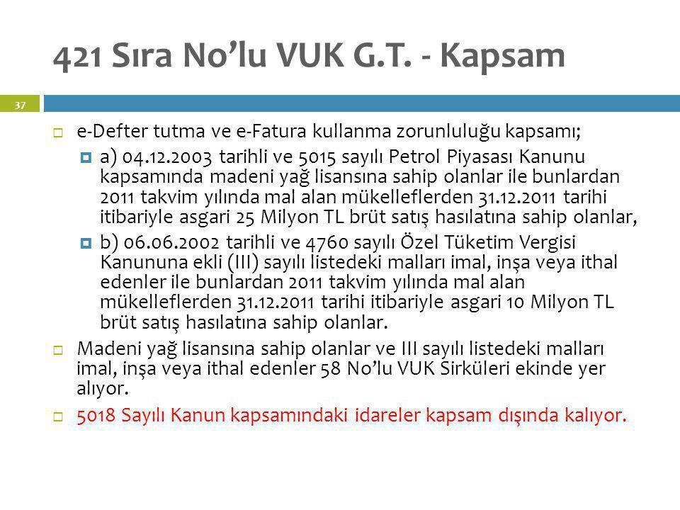 421 Sıra No'lu VUK G.T. - Kapsam