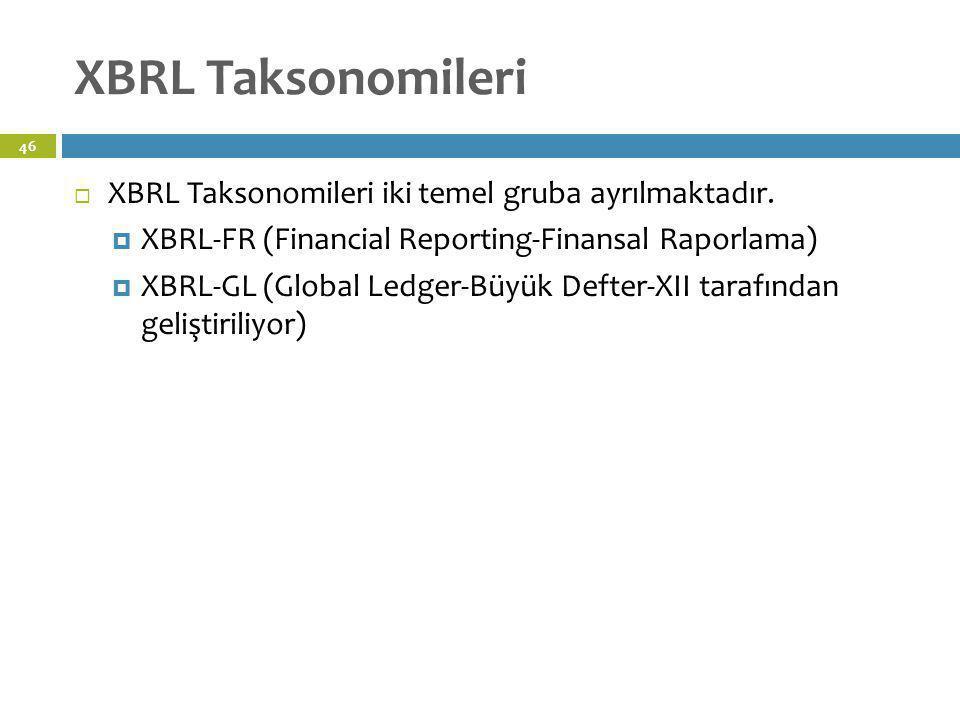 XBRL Taksonomileri XBRL Taksonomileri iki temel gruba ayrılmaktadır.