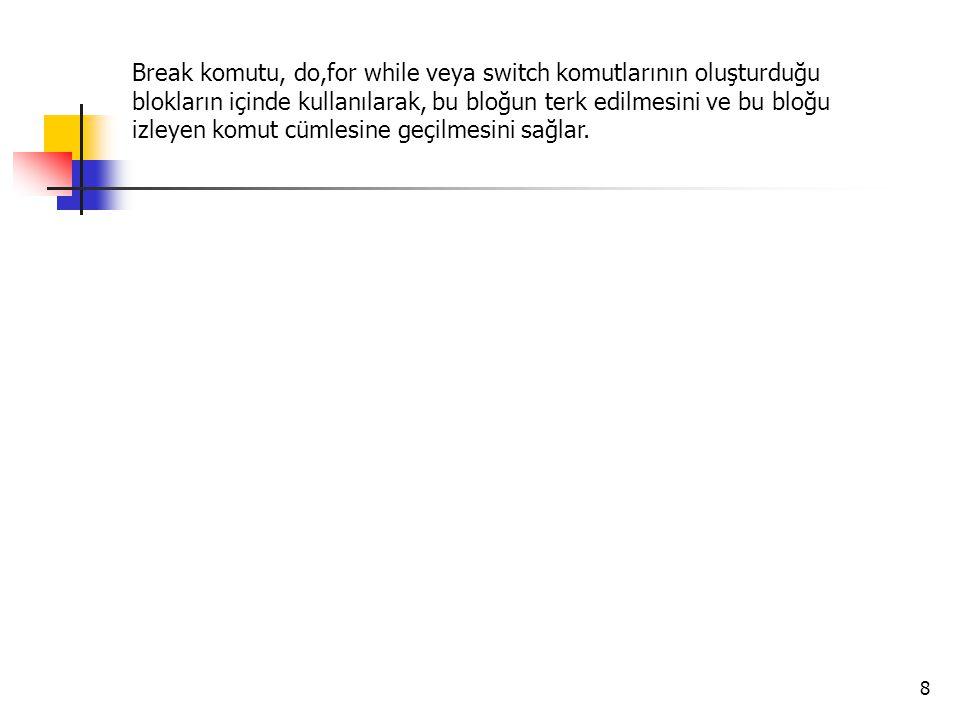 Break komutu, do,for while veya switch komutlarının oluşturduğu