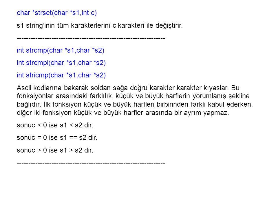 char *strset(char *s1,int c)