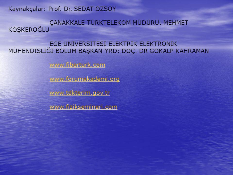 Kaynakçalar: Prof. Dr. SEDAT ÖZSOY