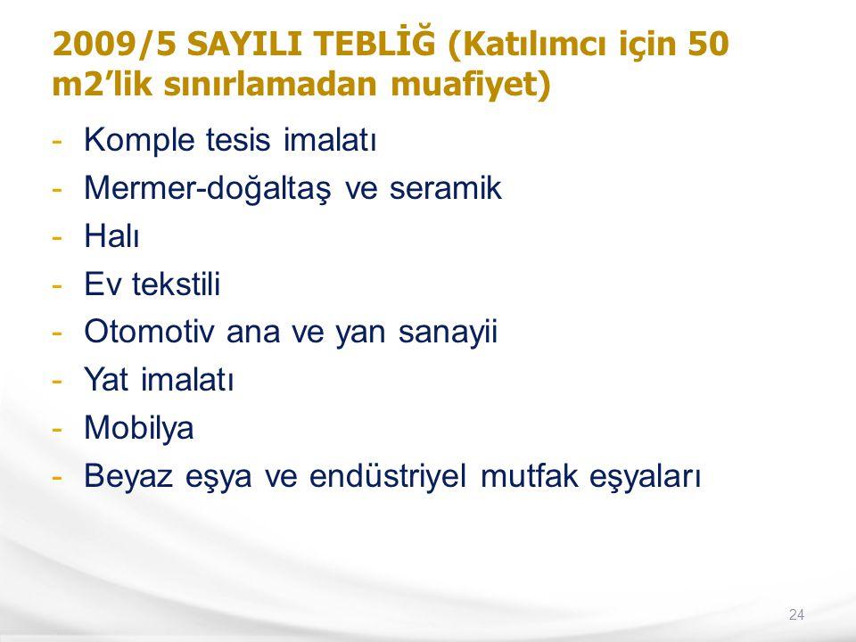 2009/5 SAYILI TEBLİĞ (Katılımcı için 50 m2'lik sınırlamadan muafiyet)