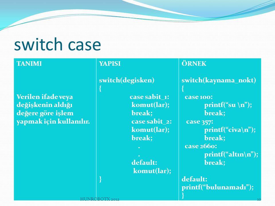 switch case TANIMI. Verilen ifade veya değişkenin aldığı değere göre işlem yapmak için kullanılır.