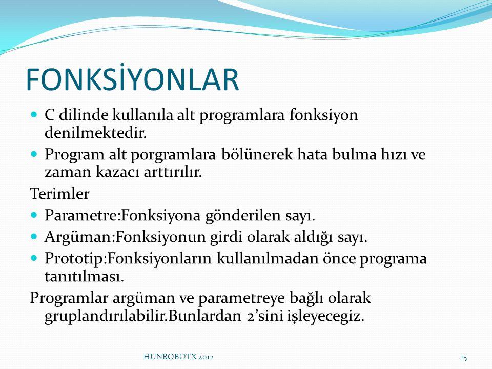 FONKSİYONLAR C dilinde kullanıla alt programlara fonksiyon denilmektedir.