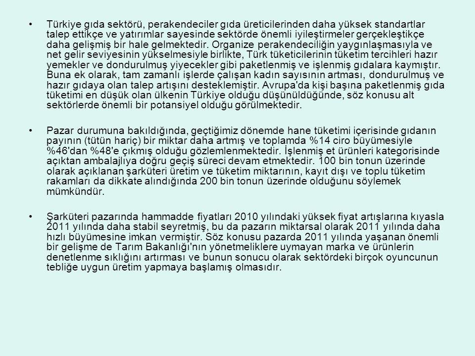 Türkiye gıda sektörü, perakendeciler gıda üreticilerinden daha yüksek standartlar talep ettikçe ve yatırımlar sayesinde sektörde önemli iyileştirmeler gerçekleştikçe daha gelişmiş bir hale gelmektedir. Organize perakendeciliğin yaygınlaşmasıyla ve net gelir seviyesinin yükselmesiyle birlikte, Türk tüketicilerinin tüketim tercihleri hazır yemekler ve dondurulmuş yiyecekler gibi paketlenmiş ve işlenmiş gıdalara kaymıştır. Buna ek olarak, tam zamanlı işlerde çalışan kadın sayısının artması, dondurulmuş ve hazır gıdaya olan talep artışını desteklemiştir. Avrupa da kişi başına paketlenmiş gıda tüketimi en düşük olan ülkenin Türkiye olduğu düşünüldüğünde, söz konusu alt sektörlerde önemli bir potansiyel olduğu görülmektedir.