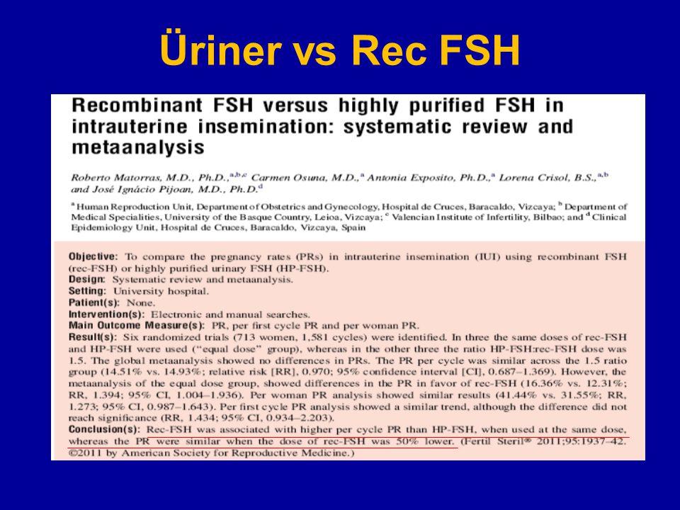 Üriner vs Rec FSH 6 çalışma 1581 siklus