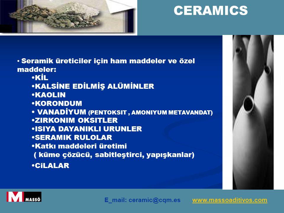 CERAMICS Seramik üreticiler için ham maddeler ve özel maddeler: KİL