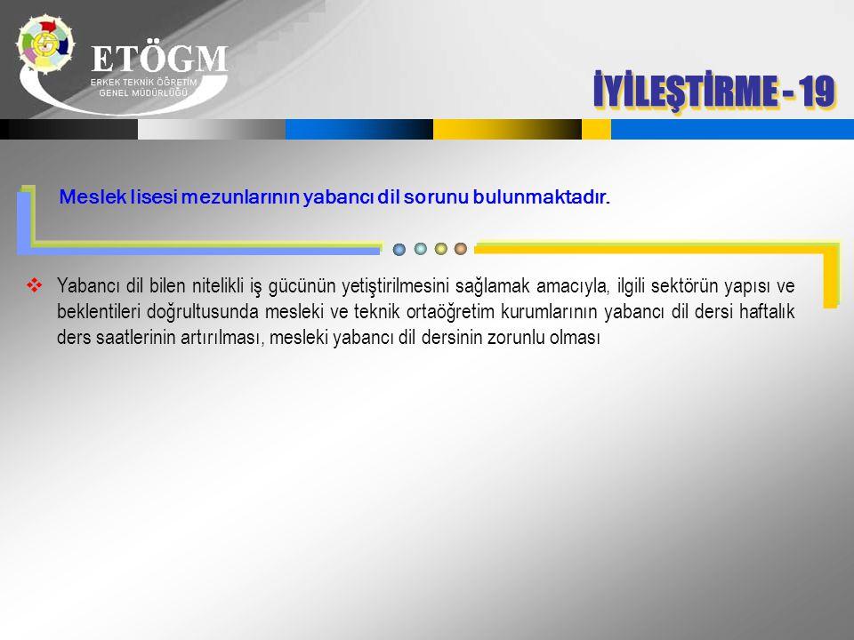 İYİLEŞTİRME - 19 Meslek lisesi mezunlarının yabancı dil sorunu bulunmaktadır.