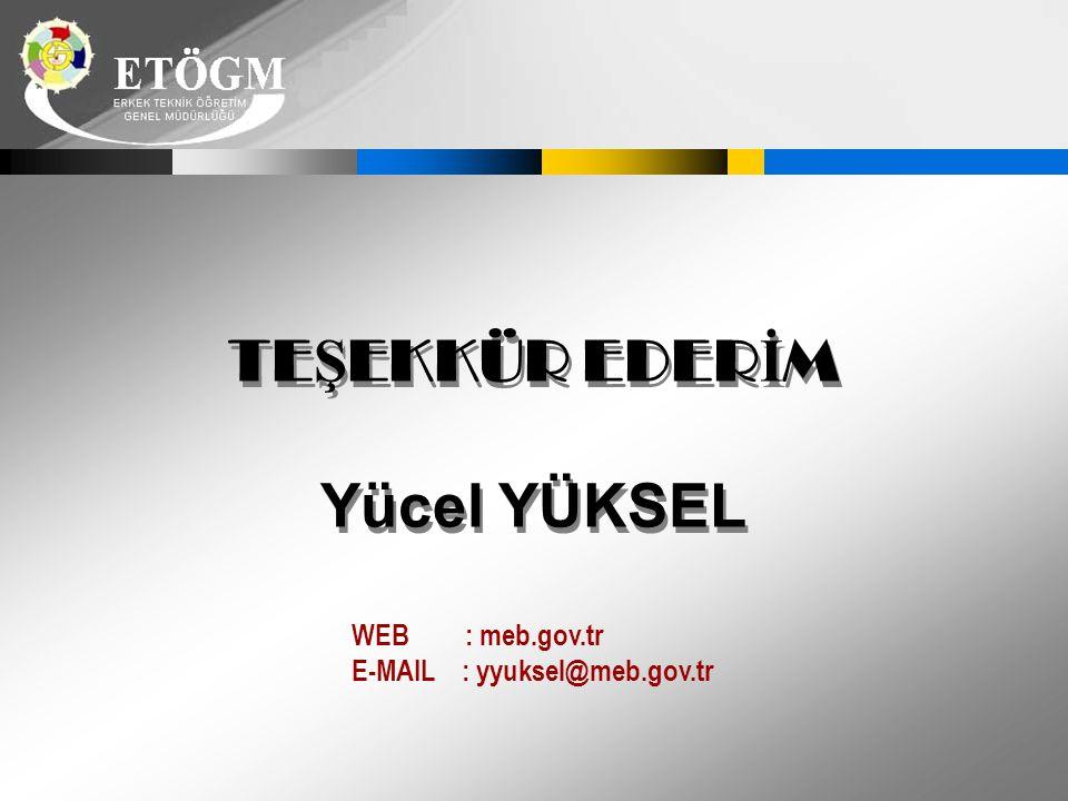 TEŞEKKÜR EDERİM Yücel YÜKSEL WEB : meb.gov.tr