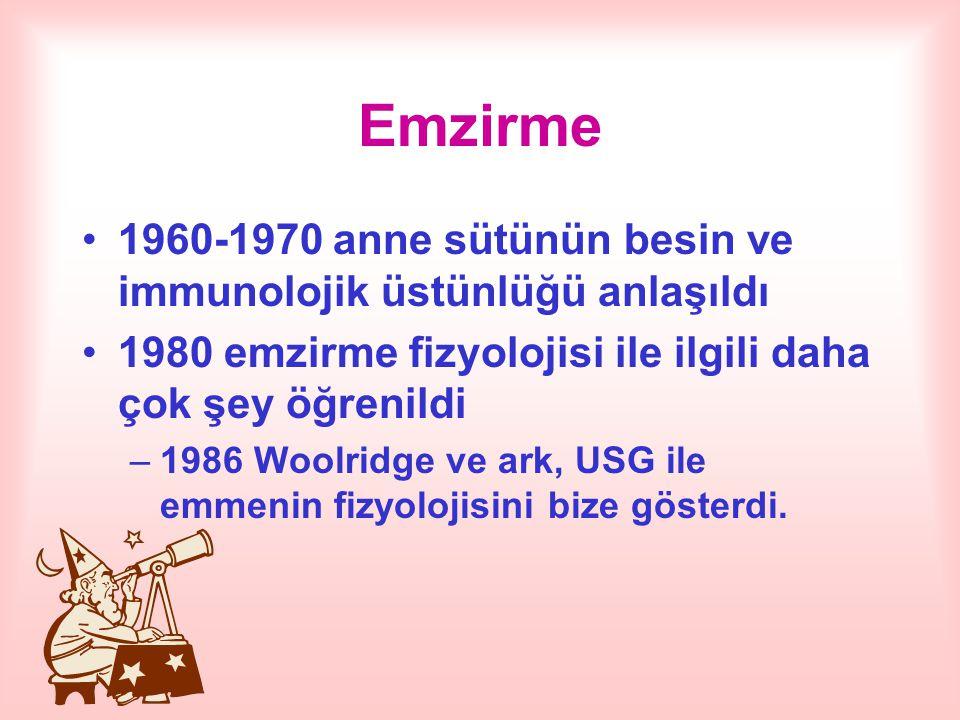 Emzirme 1960-1970 anne sütünün besin ve immunolojik üstünlüğü anlaşıldı. 1980 emzirme fizyolojisi ile ilgili daha çok şey öğrenildi.
