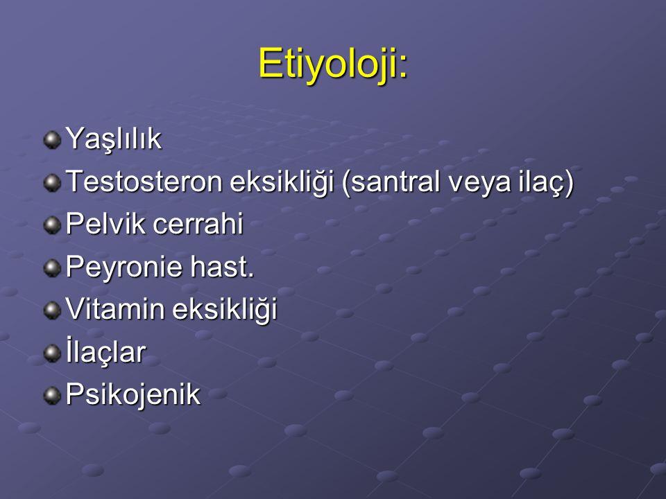 Etiyoloji: Yaşlılık Testosteron eksikliği (santral veya ilaç)