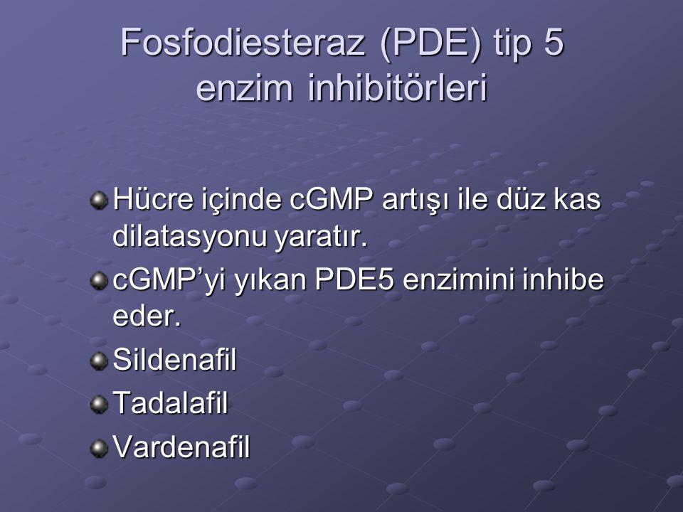 Fosfodiesteraz (PDE) tip 5 enzim inhibitörleri