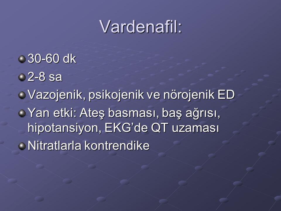 Vardenafil: 30-60 dk 2-8 sa Vazojenik, psikojenik ve nörojenik ED