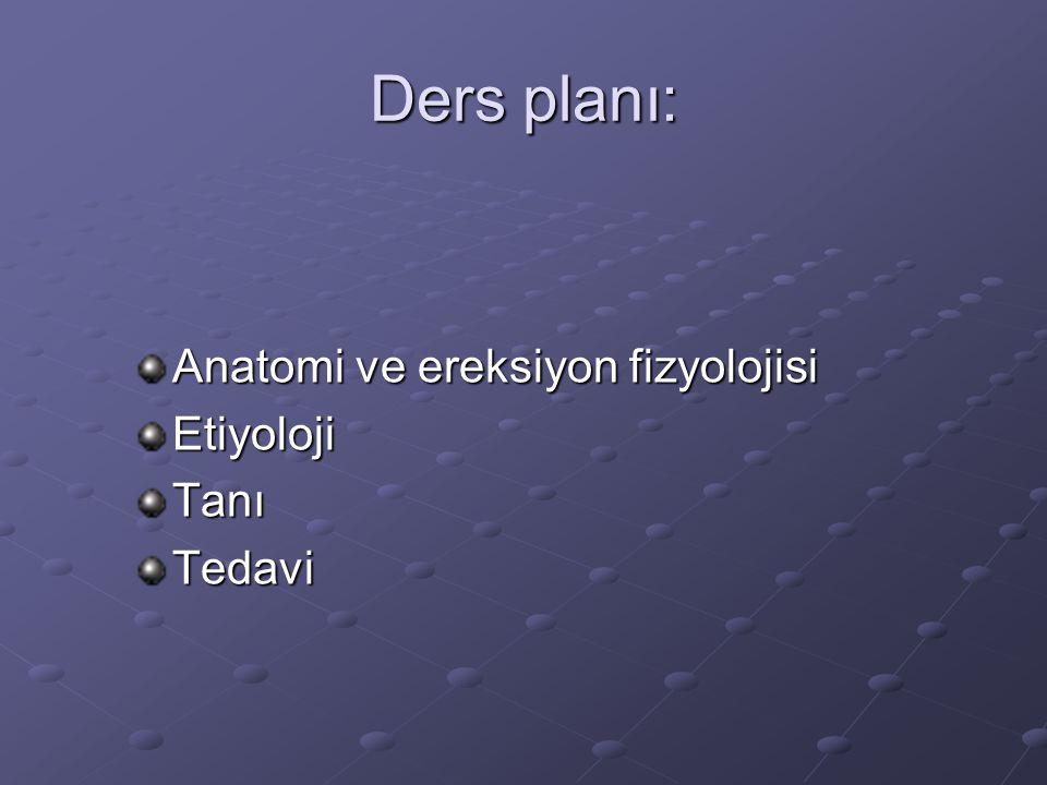 Ders planı: Anatomi ve ereksiyon fizyolojisi Etiyoloji Tanı Tedavi