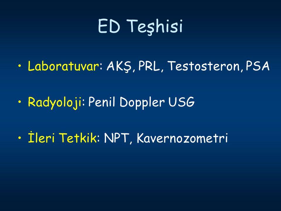 ED Teşhisi Laboratuvar: AKŞ, PRL, Testosteron, PSA