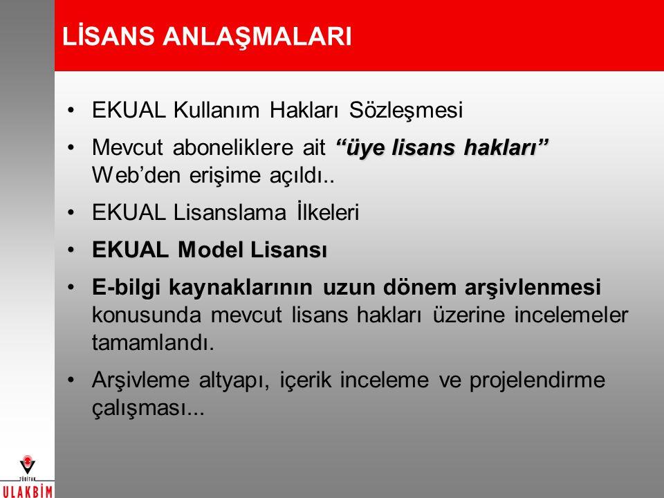 LİSANS ANLAŞMALARI EKUAL Kullanım Hakları Sözleşmesi