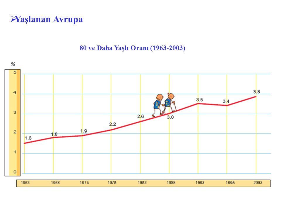 Yaşlanan Avrupa 80 ve Daha Yaşlı Oranı (1963-2003)