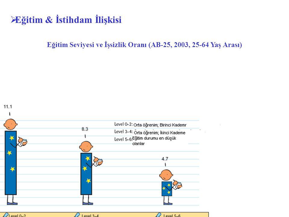 Eğitim Seviyesi ve İşsizlik Oranı (AB-25, 2003, 25-64 Yaş Arası)