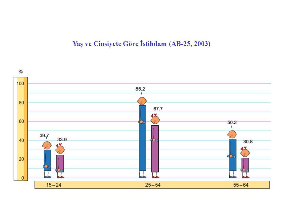 Yaş ve Cinsiyete Göre İstihdam (AB-25, 2003)