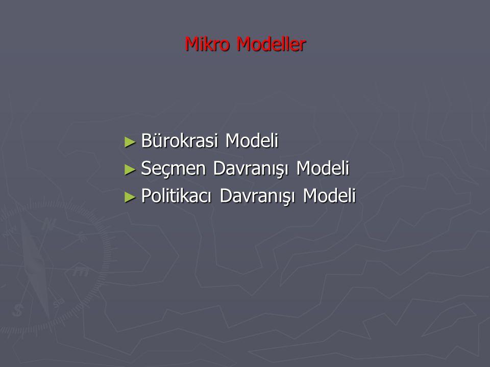 Mikro Modeller Bürokrasi Modeli Seçmen Davranışı Modeli Politikacı Davranışı Modeli