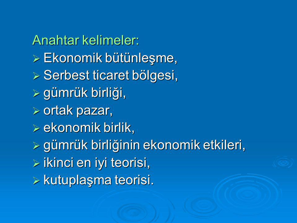 Anahtar kelimeler: Ekonomik bütünleşme, Serbest ticaret bölgesi, gümrük birliği, ortak pazar, ekonomik birlik,