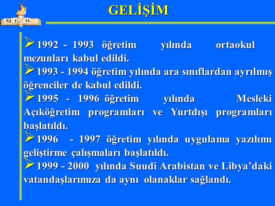 GELİŞİM 1992 - 1993 öğretim yılında ortaokul mezunları kabul edildi.