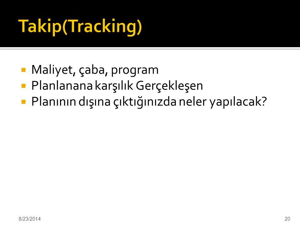 Takip(Tracking) Maliyet, çaba, program Planlanana karşılık Gerçekleşen
