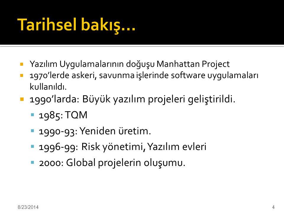 Tarihsel bakış… 1990'larda: Büyük yazılım projeleri geliştirildi.