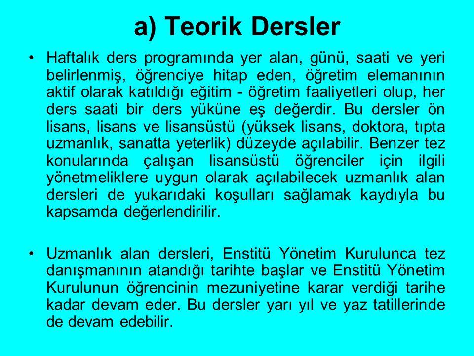 a) Teorik Dersler