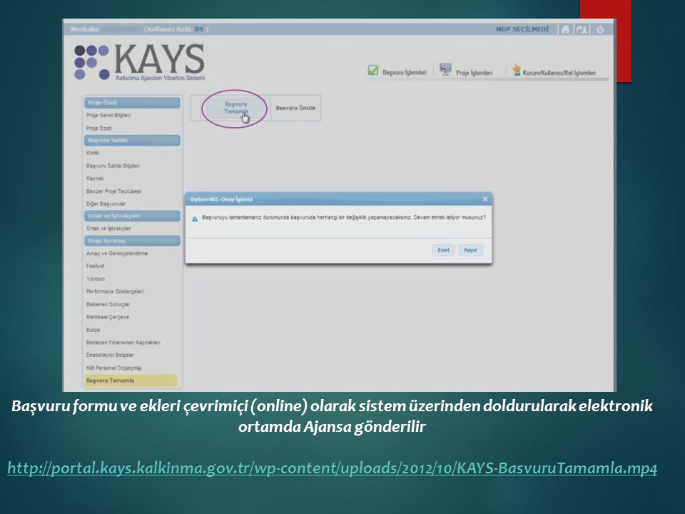 Başvuru formu ve ekleri çevrimiçi (online) olarak sistem üzerinden doldurularak elektronik ortamda Ajansa gönderilir