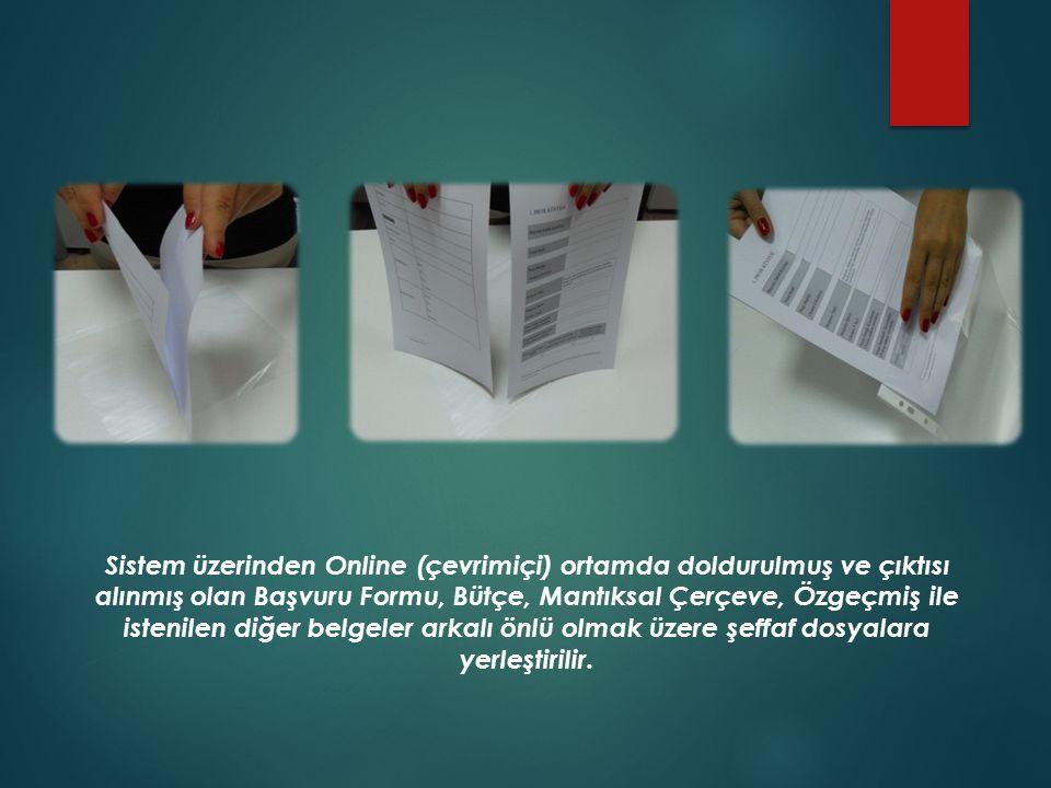 Sistem üzerinden Online (çevrimiçi) ortamda doldurulmuş ve çıktısı alınmış olan Başvuru Formu, Bütçe, Mantıksal Çerçeve, Özgeçmiş ile istenilen diğer belgeler arkalı önlü olmak üzere şeffaf dosyalara yerleştirilir.
