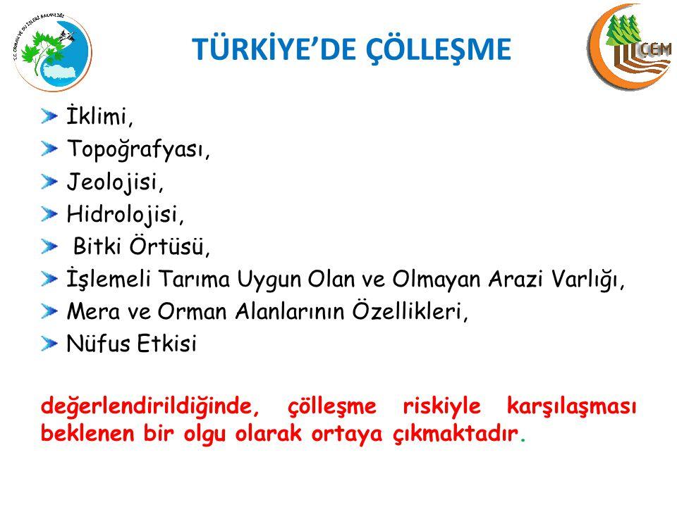 TÜRKİYE'DE ÇÖLLEŞME İklimi, Topoğrafyası, Jeolojisi, Hidrolojisi,